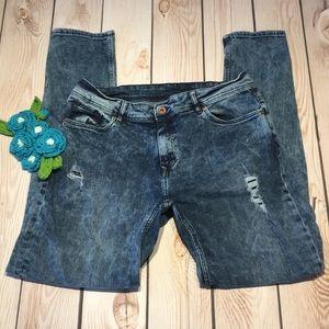 H&M Acid Wash Skinny Distressed Jegging Jeans